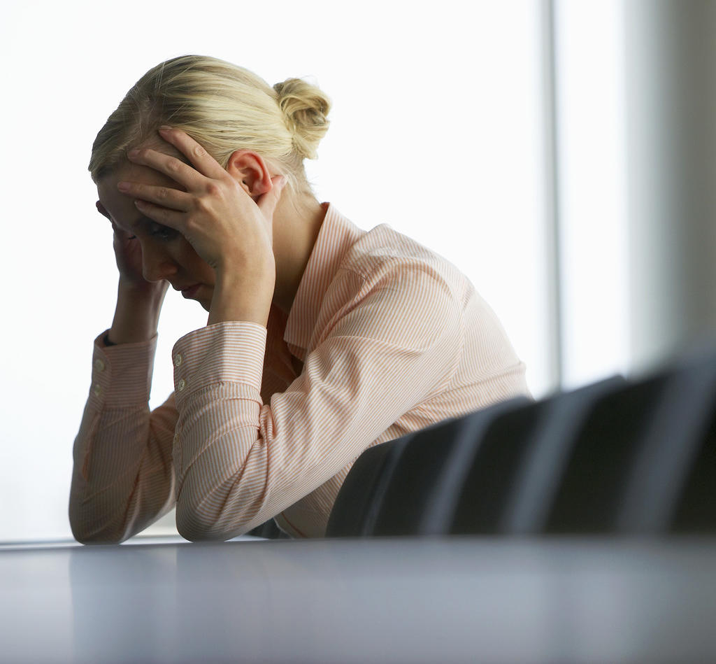 Stressed Businesswoman Psychological Harassment