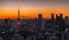 Tokyo Skyline at Sunset with Mt. Fuji in the Background