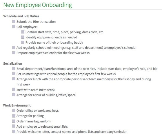 onboarding forms templates new hire checklist