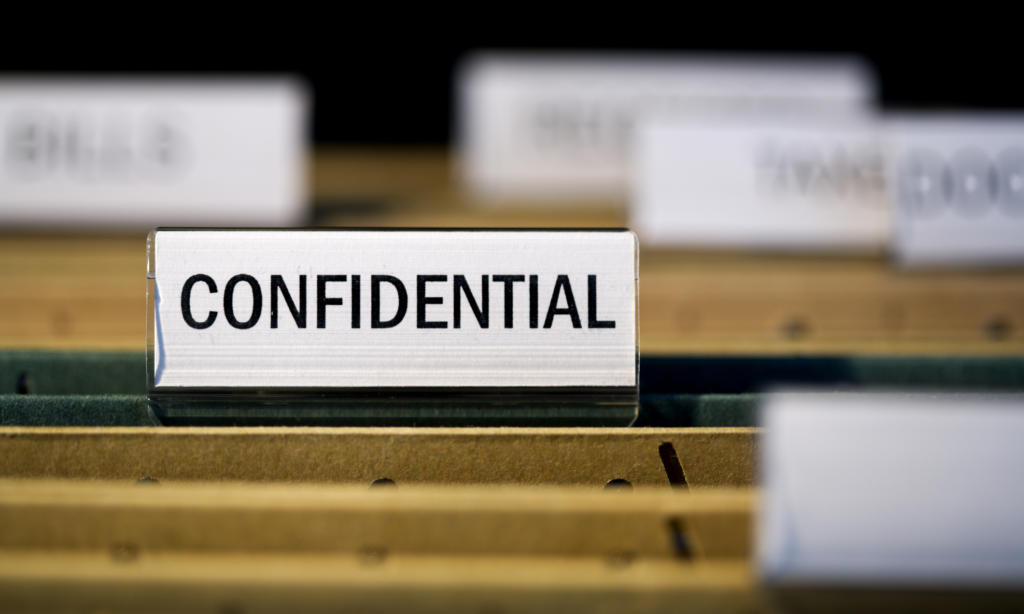 Confidential workplace investigation report folder
