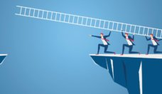 business-team-using-ladder-to-cross-through-the-gap-between-hill-vector-id658973830