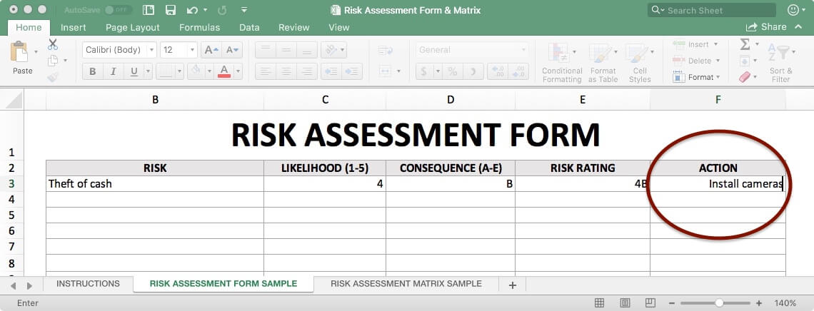 Risk Assessment Form - Action