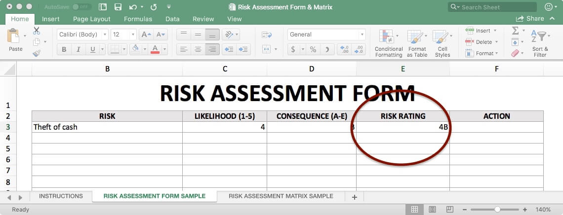 Risk Assessment Form - Risk Rating